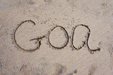 """The inscription on the sand """"Goa"""" on the beach, India, Goa"""