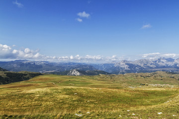 Beautiful landscape in Montenegro with fresh grass and beautiful peaks. Durmitor National Park in Montenegro part of Dinaric Alps.