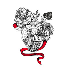 Zentangle stylized Human heart with flowers and a band.. Hand Drawn doodle heart illustration. Sketch for tattoo or makhenda. Hipster artistically patterned print. Vector.