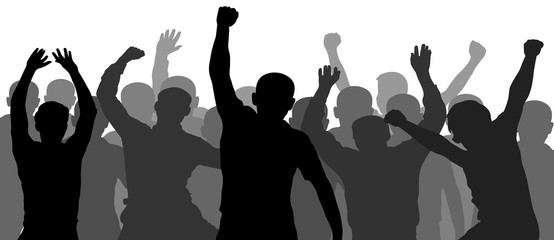People having fun celebrating. Crowd of fun people on party, holiday. Demonstration, protest. Applause people hands up. Silhouette Vector Illustration