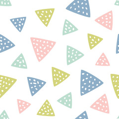 Childish seamless pattern with triangles. Creative texture for fabric, textile.