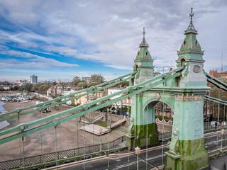 Hammersmith bridge at low tide, London, UK