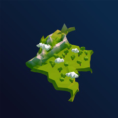 Colombia Vector Low Poly 3D Cartoon Map