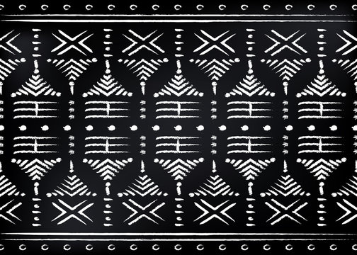 African Print fabric, Ethnic handmade ornament for your design, tribal pattern motifs geometric elements. Vector texture, afro textile Ankara fashion style. Pareo wrap dress, carpet batik Malian