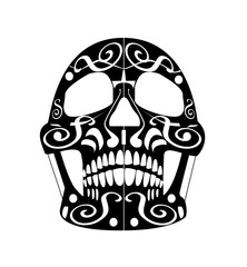 Day of the dead skull icon, ornament black and white