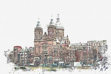 illustration or watercolor sketch. Traditional old architecture in Amsterdam. European architecture. Residential buildings and the Cathedral.