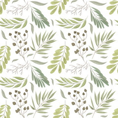 Watercolor seamless backgroun pattern with green leaves