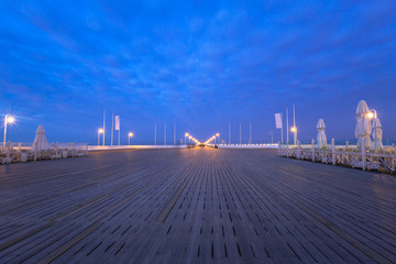 The Sopot pier by Baltic Sea pier at dusk, Poland