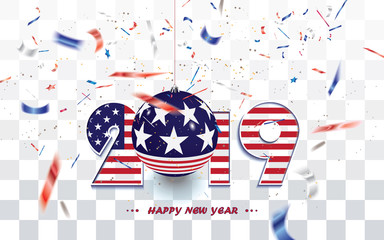 New Year card 2019 with USA flag and transparent confetti in the national colors of USA isolated on checkered background