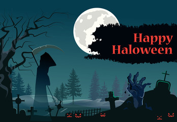 Happy Halloween lettering with grim reaper and zombie hand. Invitation, greeting card or advertising design. Typed text, calligraphy. For leaflets, brochures, invitations, posters or banners.