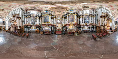 full seamless spherical panorama 360 by 180 degrees angle view interior baroque catholic church of all saints in equirectangular projection, ready AR VR content