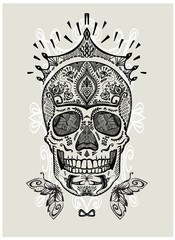 Hand drawn ornamental decorated skull, sugar skull with crown