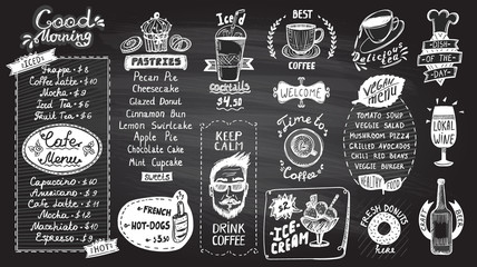 Cafe menu chalkboard design set, hand drawn line graphic illustration with pastries and drinks, vegan menu, coffee and tea symbols