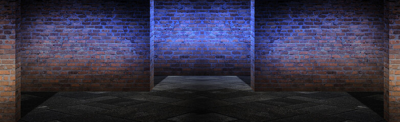 Empty brick wall background with neon lights, spotlights.