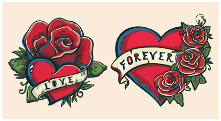 Old school hand drawn graphic illustration with hearts, roses and ribbons