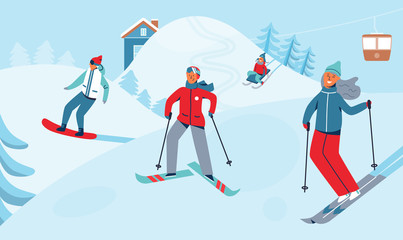 Winter Holidays Recreation Sport Activity. Ski Resort Landscape with Characters Skiing and Snowboarding. Happy People Riding on Snowy Downhill. Vector illustration