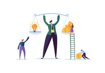 Business Idea and Money Concept. Businessman Holding Weights with Light Bulb and Golden Coins. Investment Management with Characters. Vector illustration
