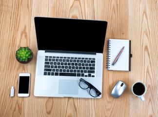 Wooden Oak desktop with modern wireless technologies