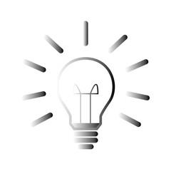 Glühbine mit Strahlen - Icon, Symbol, Piktogramm, grafisches Element - schwarz, grau - Verlauf