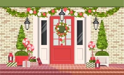 Christmas decoration of entrance doors
