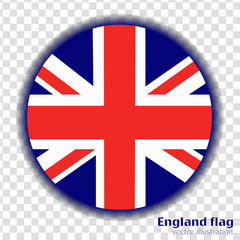 Round banner with flag of England. Vector.