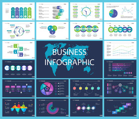 Business inforgraphic design set for management concept. Can be used for business project, annual report, web design. Process chart, option chart, scatter plot, pie chart, flowchart, donut diagram