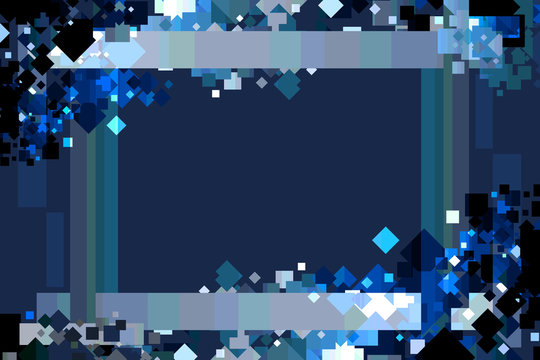 Graphic Design Background. Colorful Confetti Frame with Copy Space. Blue, Azure, and Sapphire.
