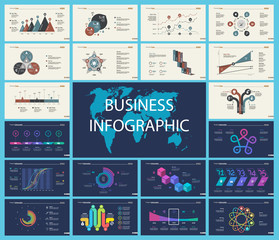 Set of analysis or statistics concept infographic charts. Business diagrams for presentation slide templates. For corporate report, advertising, banner and brochure design.
