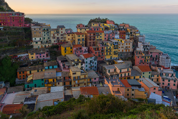 Manarola at sunrise, colorful village of Cinque Terre, Italy