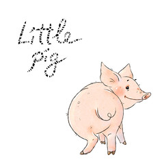 Hand drawn naughty pig. Cute funny piglet isolated on white background. Pig Chinese zodiac symbol of the year.