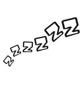 zzz schlafen müde erschöpft schnarchen abend nacht bett decke erholen schlafmütze comic cartoon clipart cool