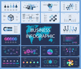 Set of production or logistics concept infographic charts. Business diagrams for presentation slide templates. For corporate report, advertising, banner and brochure design.