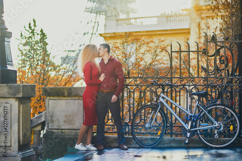 Romantic Couple In Love Near The Eiffel Tower Stock Photo And