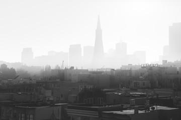 Fog covered skyline of San Francisco