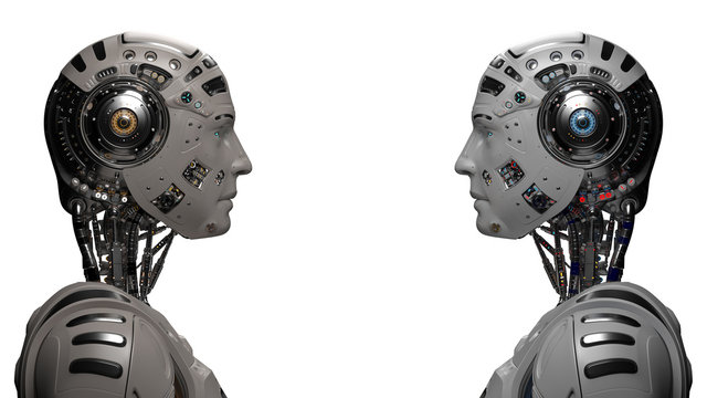 two futuristic robots looking at each other. Two identical cyborgs. Isolated on white background. 3D illustration
