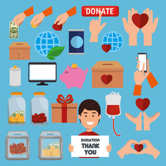 charity donation set icons