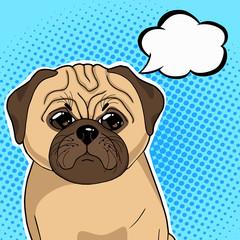 Pug dog with thinking balloon vector illustration in pop art retro style.