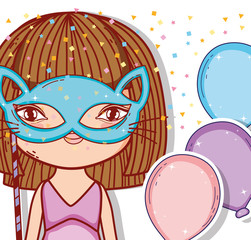 girl wearing cat mask with balloons style