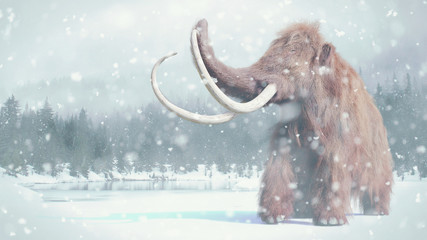 woolly mammoth, prehistoric mammal in snowy ice age landscape