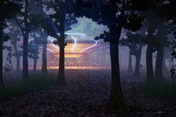 UFO landing in the forest at night, science fiction scene with alien spaceship