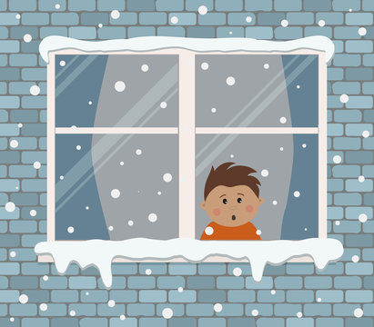 Window on a brick wall on a snowy day. A little boy in the room is surprised, looking at the snow. View from the street side. Winter background. Vector illustration.