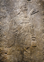 Winged Genie panel, made from alabaster circa 883–859 BCE, decorated an Neo-Assyrian royal palace of the King Ashur-nasir-pal II near Nimrud, Iraq.