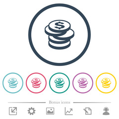 Stack of Dollar coins flat color icons in round outlines