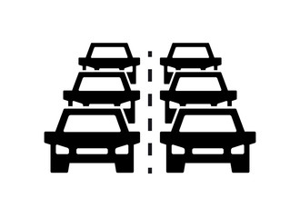 Car traffic jam vector icon, symbol and sign illustration on white background.