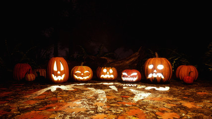 A few Jack-o-lantern carved halloween pumpkins on a ground covered by fallen autumnal leaves in haunted autumn forest at dark night. Fall season 3D illustration.