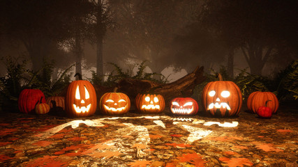 A few Jack-o-lantern carved halloween pumpkins on a ground covered by fallen autumn leaves in dark misty forest at dusk or night. Fall season 3D illustration.