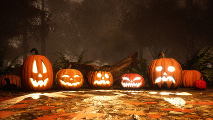 A few various funny carved halloween pumpkins on a ground covered by fallen autumn leaves in misty forest at dusk or night. Fall season 3D illustration.