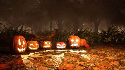 Jack-o-lantern carved halloween pumpkins among scary mystical autumn forest at foggy dusk or night. Fall season festive 3D illustration.