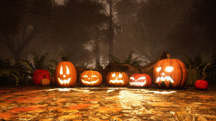 A few various funny Jack-o-lantern carved halloween pumpkins in dark misty autumn forest at dusk or night. Fall season festive 3D illustration.
