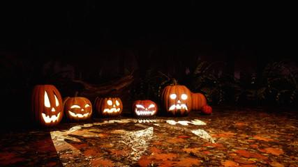 Scary Jack-o-lantern carved halloween pumpkins among haunted autumn forest at dark night. Fall season festive 3D illustration.